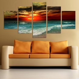 2020 playa de arte moderno abstracto Hot 5 Piece Beach Sunset Painting Modern Abstract Oil Canvas Art Seascapes Wall Pictures Decoration Sets Entrega gratuita playa de arte moderno abstracto baratos