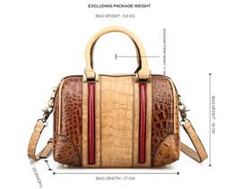 Wholesale Top Grade Handbags - KISSUN Factory Vintage Boston Handbag Shoulder Bag For Women Antique Croco Pattern Fashion Classic Luxury Quality Top Grade