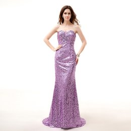 Wholesale Vestido Plus Size Renda Longo - Shining Purple Sequins Mermaid Evening Dresses Crystal Sexy Formal Dress Gown Dresses Evening Wear Sweetheart Vestido Longo De Renda CL5304