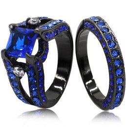 Wholesale Diamond Halo - Size 5-11 Black Wedding Engagement Ring Band Pair Set Princess Cut Sapphire Blue Crystal Bridal Halo Anniversary Two-in-One