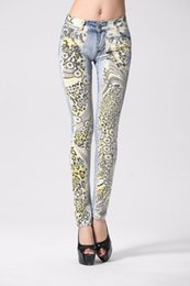 Wholesale Paints Female Jeans - Female Leopard Print Long Pencil Jeans Fashion Printing Little Feet Jeans Sexy Individual Character Cotton Female Jeans
