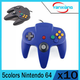 Wholesale Nintendo 64 Controller Joystick - 10PCS New Blue Long Handle Controller Pad Joystick Game System for Nintendo 64 N64 System Gift yx-n64-11