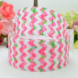 "Wholesale Pink 38mm Ribbon - 50 Yards 1.5"" 38mm Chevron Flowers Pink Printed Grosgrain Ribbon DIY Bow Material Ribbons Sewing Supplies Tape Scrapbooking"