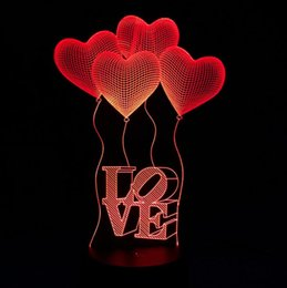 Canada Illusion d'optique 3D Love Hearts Lampes de nuit cheap acrylic hearts wholesale Offre