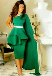 Wholesale single shoulder long dress pink - 2016 Elegant Single Long Sleeves Prom Dresses One Shoulder Satin Sheath Knee Length Custom Made Green Evening Dresses Saudi Arabic Vestidos