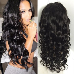 Wholesale indian beyonce - Glueless full lace wigs baby hair brazilian wavy beyonce style lace front wig 180 density human hair full lace wigs black women