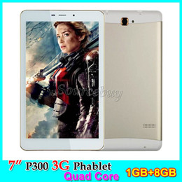 Wholesale 2g Tablets - 7 inch P300 Tablet PC 3G Unlocked Phone Call Dual SIM Cameras 5MP MTK8382 Quad Core 1GB RAM 8GB ROM Android4.4 Phablet