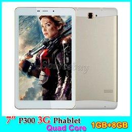 Wholesale Call Phone Unlock - 7 inch P300 Tablet PC 3G Unlocked Phone Call Dual SIM Cameras 5MP MTK8382 Quad Core 1GB RAM 8GB ROM Android4.4 Phablet