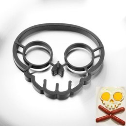 Wholesale Fried Egg Rings Free Shipping - Free Shipping Kitchen Cooking Tool Silicone Rubber Skull Eggs Fried Frying Mould Pancake Egg Ring Shaper Mold