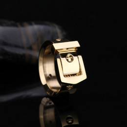 Wholesale Cool Gold Rings For Men - Small round nails belt buckle smooth letter rings for men women 316 stainless steel 18k gold plated Cool new fashion classic holiday jewelry