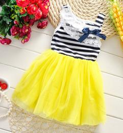 Wholesale Yellow Striped Tank - New Summer 2016 Girls Sleeveless Tulle Bow Striped Tutu Dresses Kids Clothing Tank Lace Collar Layered Gauze Lovely Dress Child Dressy H0647
