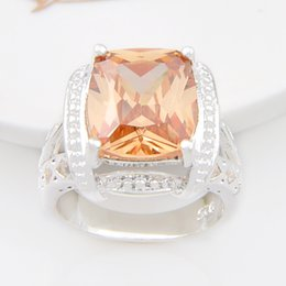 Wholesale Silver Stamped Rings - Free shipping - Vintage Silver 925 Stamp Beauty square Morganite Charm Crystal Ring Valentne's Day Gift CR0845