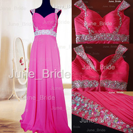 Wholesale Winter Water Factory - Designer Fuchsia Chiffon Crystal Beaded Prom Dresses Factory Real Photo Pleated Ruched Sweetheart Backless Cap Sleeves Evening Party Dress