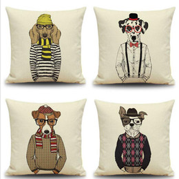 Wholesale Yarn Dogs - Mr Dog Linen Pillow Case Dog With Glasses Personification Cushion Cover Dog Style Car Cushion Cover Home Sofa Nap Cushion Cases