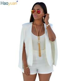 Wholesale White Elegant Cardigans - HAOYUAN Autumn Winter Fashion Women Basic Coats Cloak Cardigan Windbreaker Outerwear Womens Elegant White Black Casual Suit Coat