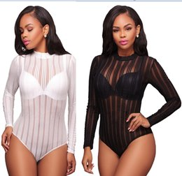 Wholesale Polka Dot Fashion Wear - Women Sexy Bodysuits Black White Long Sleeve Short Rompers Summer Womens Mesh 2017 Sexy Skinny street Wear Strip playsuits bodycon Rompers
