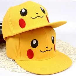 Wholesale Anime Pikachu Hat - Hot sell Anime Cosplay Poke Pocket Monster Ash Ketchum Baseball Cap Pikachu Cute Hip Hop Cap Hat Gift Cool Fashionableyzs168