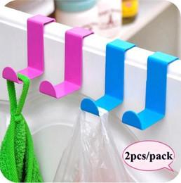 Wholesale Door Hooks Metal - 5 Colors Z Type Door Hook Hanger Stainless Steel Kitchen Bathroom Wall Door Home Storage Hooks 2pcs pack CCA6878 600pcs
