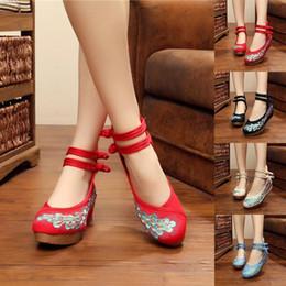 Canada Filles des femmes de broderie vintage de style chinois paon occasionnels rétro boutons plats chaussures de satin de mariage Offre
