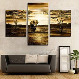 Wholesale African Canvas Wall Painting - 3 Piece Wall Art Grassland African Elephants Animals Sunrise Home Decoration Modern Landscape Oil Painting On Canvas Prints