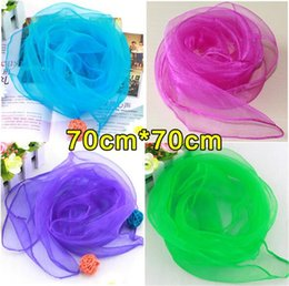 Wholesale Chiffon Color Scarves - New 70*70cm Small Square Scarves Pure Silk Chiffon Solid Color Dance Show New Candy-colored Windproof Women Scarves 20 Colors A006