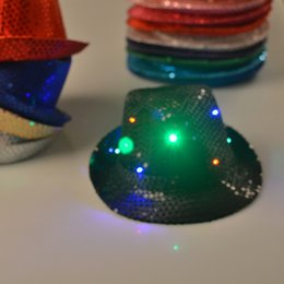 Wholesale Sequin Cowboy Hats - 5colors Fashion Flash Led Sequins cowboy hats Luminous hat Holloween Christmas New Year Ball Party Masquerade Performace Bar Dancing Props