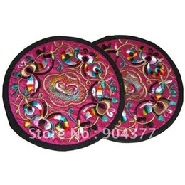 Wholesale Vintage Dining Tables - Wholesale- Vintage Round Embroidery Decorative Plates table mats for dining table Chinese Ethnic style Satin Placemats Table Protection pad