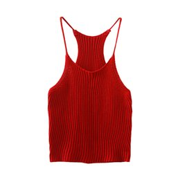 Wholesale Sexy Halter Tops For Women - Wholesale-2016 Summer Newest Women Knitted Camis Vogue & Fashion Spaghetti Strap O-neck Knitting Sexy Crop Tops Halter T-shirts for