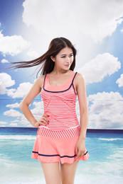 Wholesale Student Swimming - 2016 Female Striped Swimweaer Skirt Girls Two-piece Split Swimsuit Students Spring Stripe Swim 2 Piece Fashion Design Beach Dress Swimwear