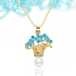 Wholesale Flower Basket Designs - 2016 new design fashionable joker little flower basket pendent necklace Europe and America top brand gold Plated allergy free jewelry