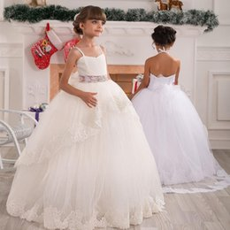 Wholesale Lovely Spaghetti Strap Ball Gown - Ball Gown Flower Girl Dresses Children Spaghetti Strap Sash Beads Lace Kids Prom Party Dress Lovely Floor Length Girls Pageant Dress