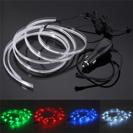 Wholesale Led Interior Neon - Wholesale- Mising 2PCS 1M Neon LED Strip Light 12V DC Glow EL Wire String Strip Rope Tube Car Interior Decor