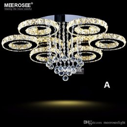 Wholesale Circle Chandelier Light - Modern LED Crystal Chandelier Ring Circle Lustre Ceiling Light Lighting Crystal Light Fixture Cristal Lustre Flush Mounted Lamp Home Bedroom