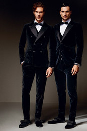 Wholesale Men Double Breasted Suit Slim - 2016 New 100% Cotton Black Velvet Tuxedos British style Custom Made Mens Suit Slim Fit Blazer Wedding suits for men(suit+pant)