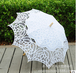 Wholesale Lace Parasols For Weddings - 2017 White wedding Parasols handmade umbrellas Lace artifull Garden bridal Parasols For Bridal Bridesmaid Wedding Diameter 32 inches