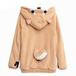Harajuku Japonais Kawaii Hoodies Femmes Sweatshirts Avec Oreilles Cute Doge Muco Winter Plush Lovely Muco! Anime Hooded Hoodies à partir de fabricateur