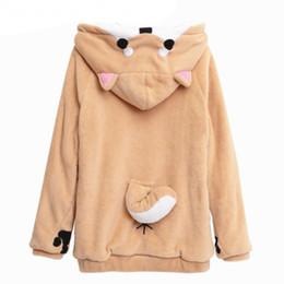 Wholesale Lovely Japanese - Harajuku Japanese Kawaii Hoodies Women Sweatshirts With Ears Cute Doge Muco Winter Plush Lovely Muco ! Anime Hooded Hoodies