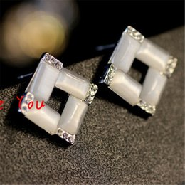 Wholesale Gold Jewellers - New Arrival Opal Crystal Stud Earrings Women Sqaure Earrings Fashion Party Jewelry boucle d'oreille brincos pendientes mujer bijoux jeweller