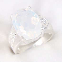 Wholesale Mexican Opal Gemstones - Wholesale 10 PCS LOT Weddings Jewelry Valentine's Day Gift Oval Rainbow Fire Moonstone Gemstone 925 Sterling Silver Ring