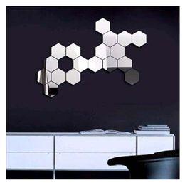 Wholesale Televisions Sets - 12pcs Set 3D Modern Mirror Geometric Hexagon Acrylic Wall Sticker Art DIY Mirrors Wall Sticker Home Living Room Decoration