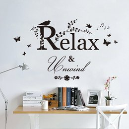 Wholesale Relax Decal - Black Butterfly Tree Branches with leaves Birds Wall Stickers Relax Unwind Wall Quote Inspiration Art Mural Poster Music Note Wall Applique