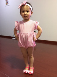 Wholesale Girls Chevron Rompers Baby - 2016 Ruffled Baby Girl Sunsuit Rompers Striped Baby Girls Clothing Set Kids Jumpsuit Cotton Chevron Rompers Real photo