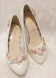 Wholesale Auger Pump - handmade set auger flower 3cm dress shoes princess shoes pointed shoes evening party bridal wedding shoes yzs168