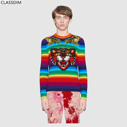 Wholesale m decals - Men's Cotton Striped Decals Sweater Men's Round Neck Cat, Garland Embroidery Sweater Rainbow-Colored Sweater Teen Size S-L