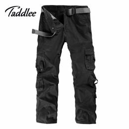 Wholesale Cargo Combat Work Trousers - Wholesale-Men Outdoor Cotton Combat Multi-Pockets Khaki Casual Loose Long Full Length Cargo Pants Mens Work Trousers Camouflage Large Size