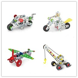 Wholesale Big Cool Cars - Boys Cool 3D Assembly Metal Engineering Vehicles Model Kits Toy Car Crane Motorcycle Truck Airplane Building Puzzles Construction Play Set