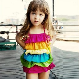 Wholesale Girls Rainbow Swimwear - Baby Kids Swimwear girl's swimwear kid's Girl rainbow cake layers swimsuit children one-piece beach wear new design Kids Clothing
