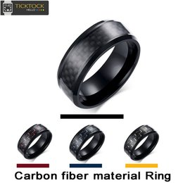 Wholesale Ring Steel Lady - Black red blue yellow AAAAA stainless steel Carbide Carbon Fiber Unisex ring,Stainless Steel Women Jewelry Wedding Ring Mens Ladies Gift