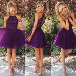 Wholesale Homecoming Charms - 2016 Cute Charming Purple Homecoming Dresses Halter Keyhole Back Lace Appliques Tulle Skirt Short Cocktail Dresses Prom Gowns