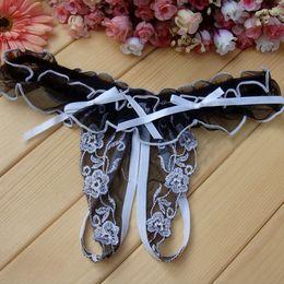 Wholesale Transparent Open Crotch Panties - Erotic lingerie open crotch panties for woman sex lace underwear briefs full transparent thongs sexy ladies briefs T-back 2pcs lot 5colors